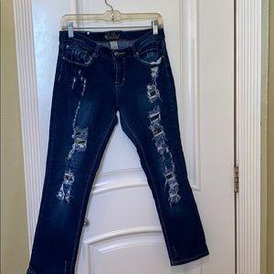 Red Rivet Straight Leg Jeans